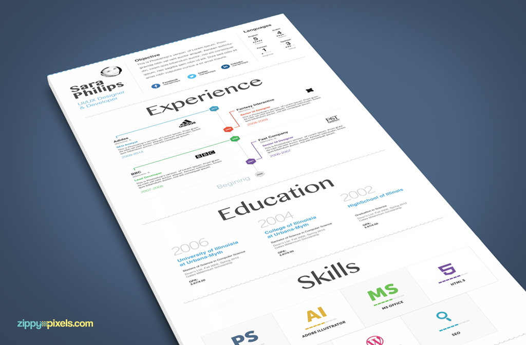 Infographic Resume \ Cover Letter - Creative PSD Resume Templates - resume and cover letter