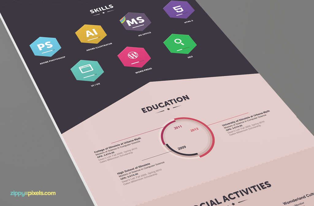 free infographic resume psd template - Minimfagency