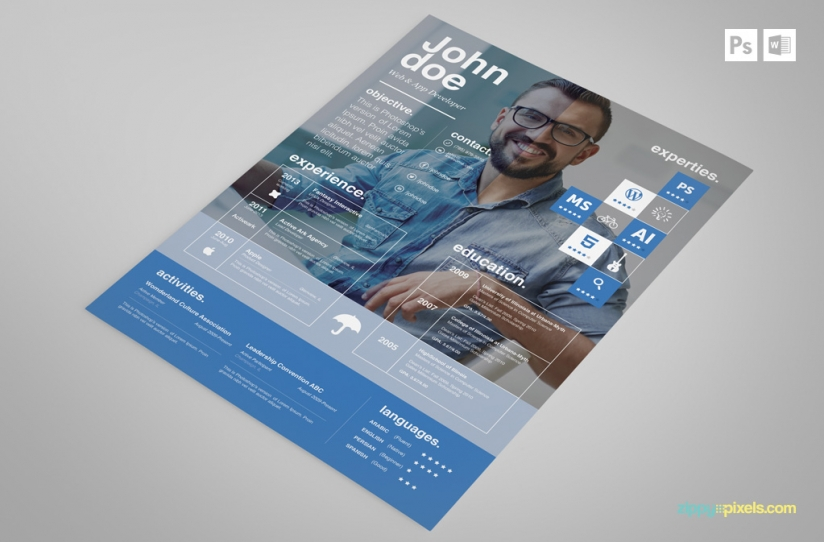 Free Creative PSD Resume Template Premium MS Word Resume  Cover - Resumes Templates Download