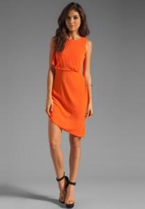 Halston_Orange_Asymmetrical_Dress
