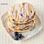 blueberry pancakes with lemon glaze