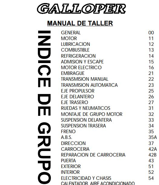 Descargar Manual de taller Hyundai Galloper / Zofti - Descargas gratis