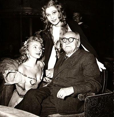 Paul Claudel και δύο ηθοποιοί του Soulier de Satin, Mony Dalmès και Claude Nollier, 1949