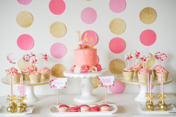 Pink and Gold Half Year Birthday Party - Pretty My Party - birthday party design