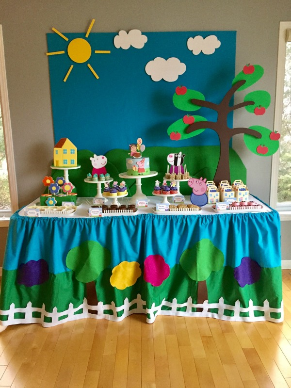 16 Peppa Pig Birthday Party Ideas - Pretty My Party - blue and green birthday party