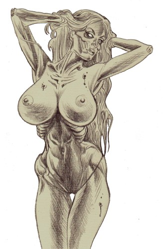 Zombie Art Pinup #235 Bigger Tits! Zombie Art by Rob Sacchetto