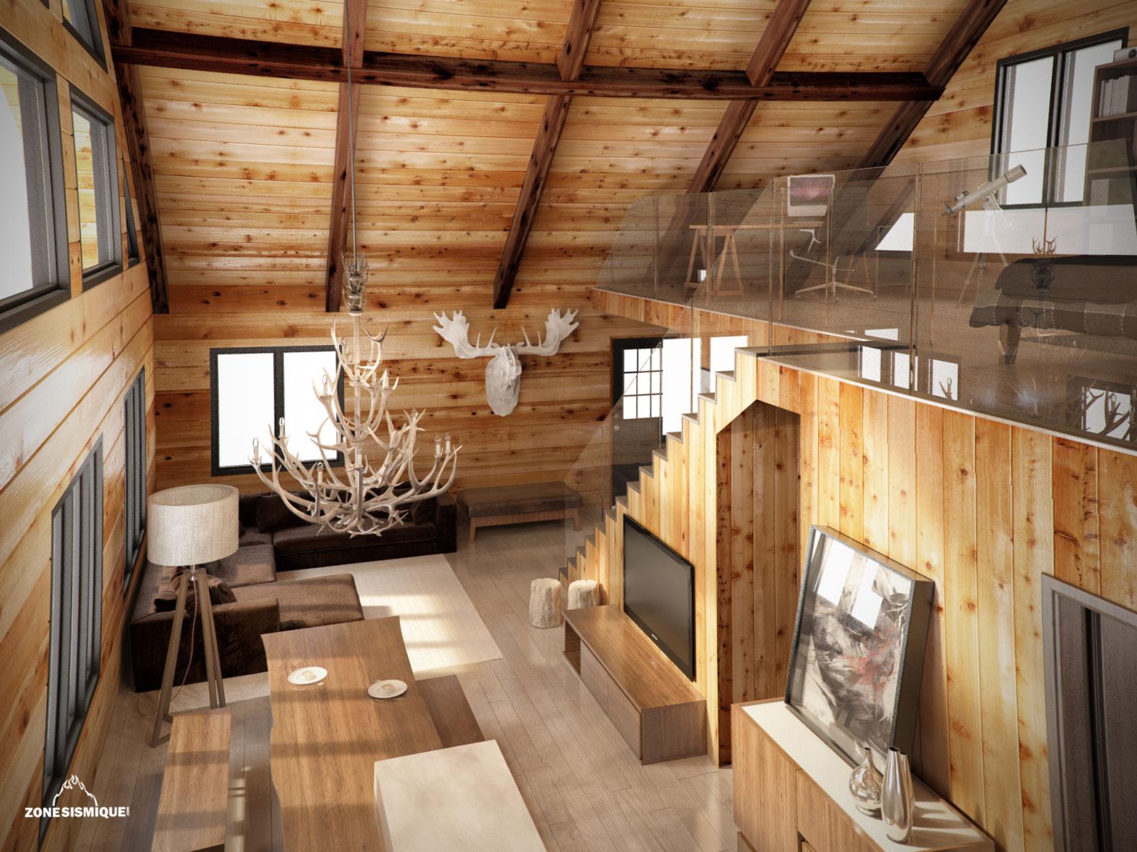 Decoration Interieur Salon Chalet | Amenagement Interieur Chalet ...