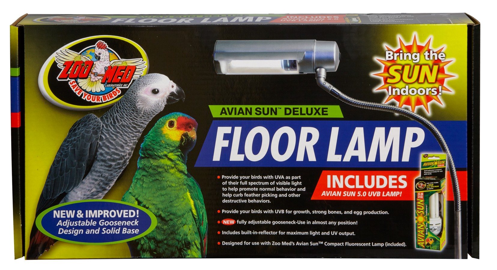 Avian Sun Deluxe Floor Lamp with Avian Sun 5.0 UVB Lamp