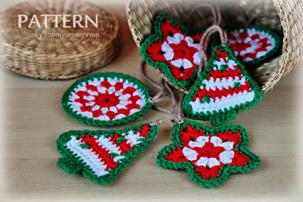 crochet Christmas ornaments star tree circle patter pdf download