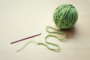 trying to knit with chain of crochet stitches