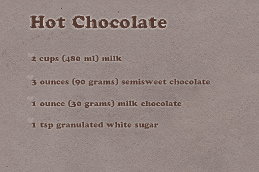 homemade hot chocolate recipe with step by step pictures, ingredients