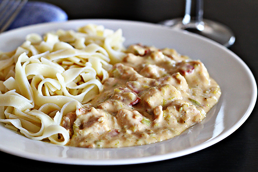 chicken Stroganoff recipe with step by step picture tutorial, serve the chicken Stroganoff over hot noodles