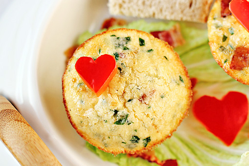 scrambled egg muffins step by step recipe with pictures, garnish with red bell pepper hearts