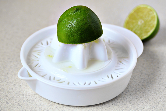 chicken burritos recipe with step by step picture instructions, juice the lime, we'll need 2 teaspoons for the vegetable filling and another 2 teaspoons for the chicken