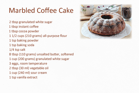 Marbled coffee cake recipe. Ingredients.
