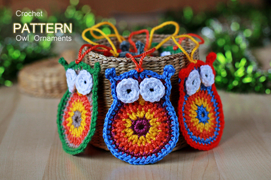 crochet owl Christmas ornaments pattern