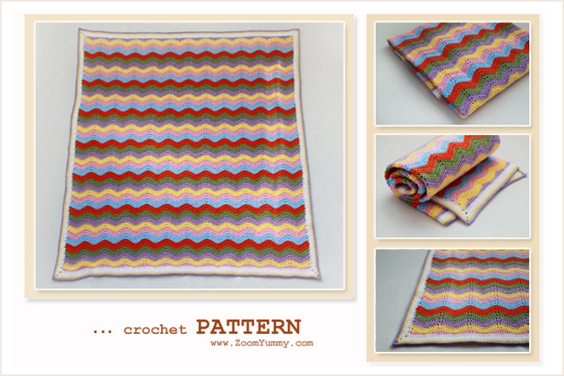 simple colorful crochet ripple blanket pattern