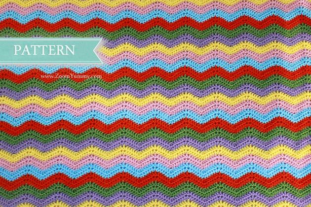 simple colorful crochet ripple blanket pattern