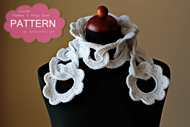 Crochet Flowers And Rings Scarf