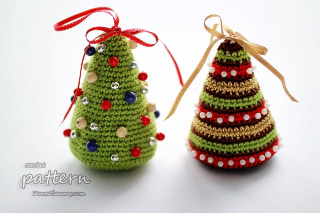 New crochet pattern little colorful christmas trees 171 crochet