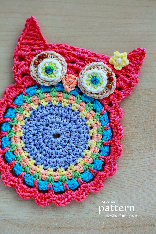 New Pattern ? Crochet Owl Coasters (Appliques) Crochet ...