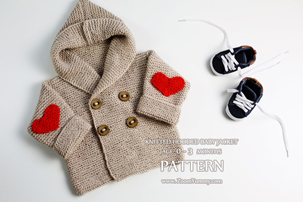 Knitted Hooded Baby Jacket, Age 0-3 Months