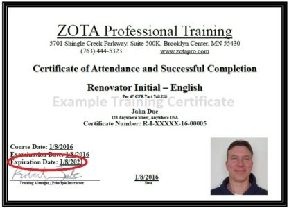 Lead Certification Online Refresher ZOTA Professional Training - training certificate