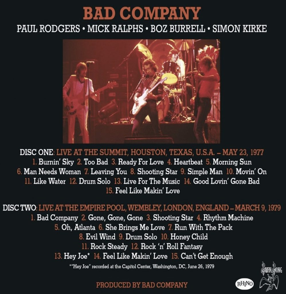 Vintage Bad Company Bad Company New Release Features Two Vintage Concerts