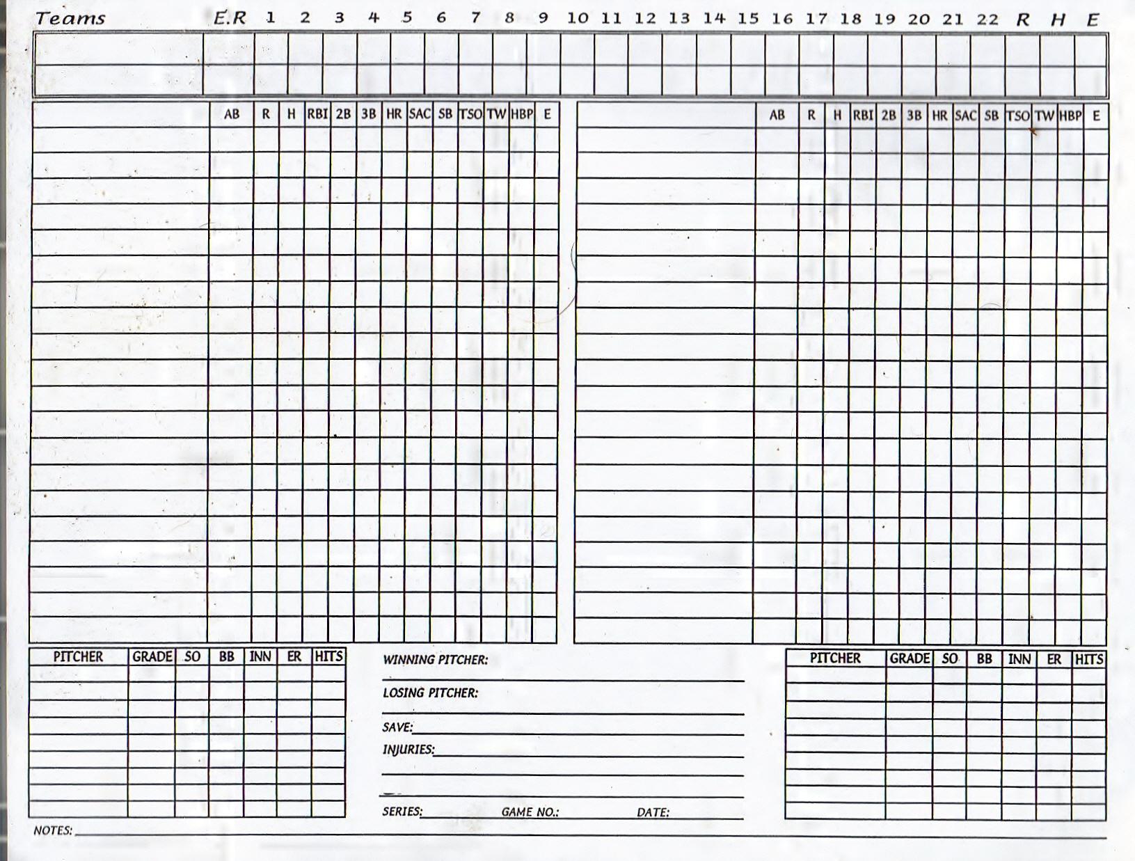 graphic about Printable Baseball Score Sheet named Blank Baseball Rating Sheet Pdf - Resume Illustrations Resume
