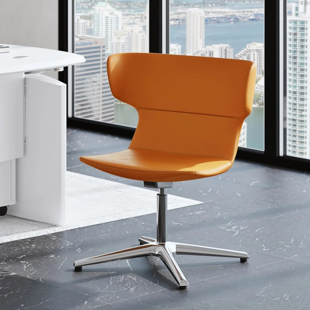 Orange Covey Leather Guest Chair