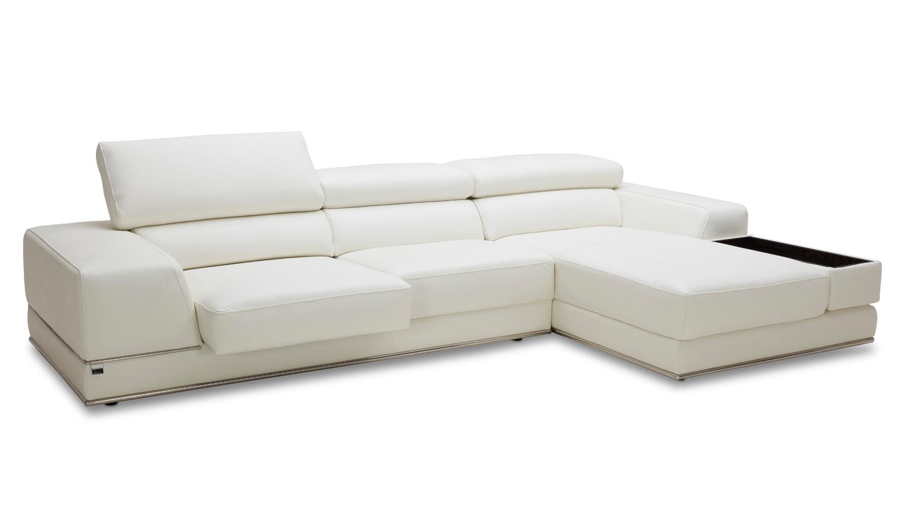 White Leather Couch Encore Sectional White