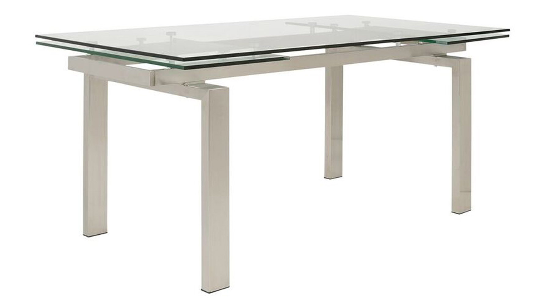 Extension Table Luciana 94 Inch Glass And Stainless Steel Extension Table