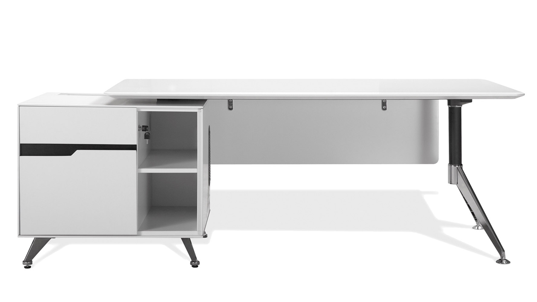 White Office Desk Darin Executive Desk With Right Cabinet