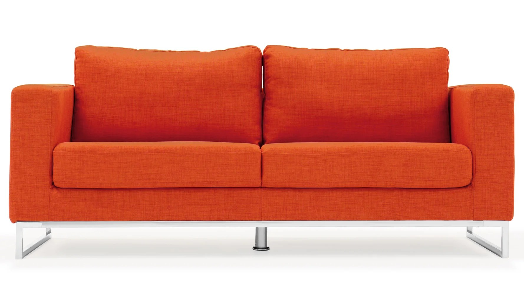 Sofa Orange Modern Orange Fabric Upholstered 2 Piece Sofa Set With