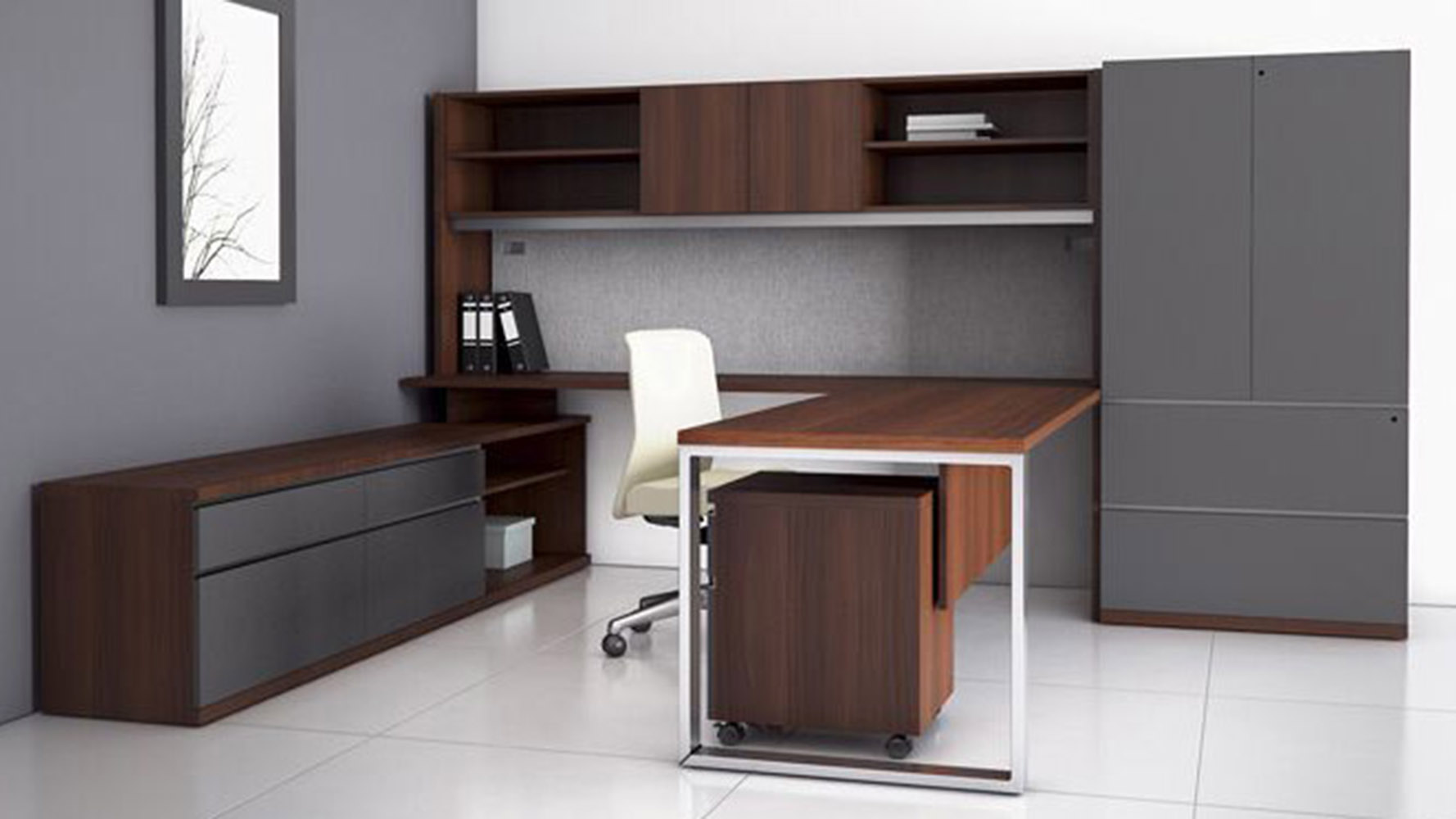 Storage Closet At Two U Shaped Desk With Overhead Storage Credenza Storage Closet
