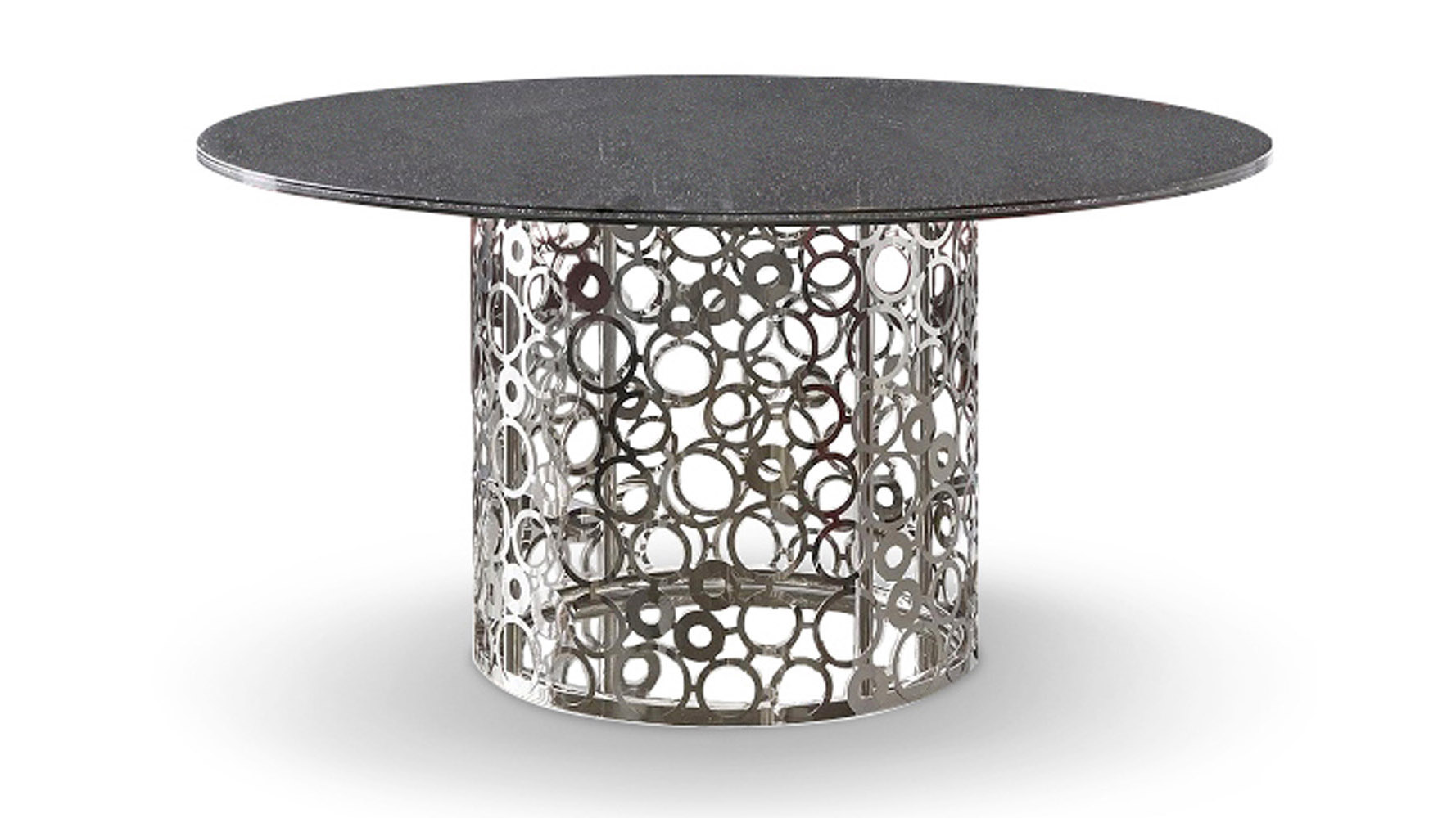Modern Round Glass Dining Table Galileo 60 Inch Smoked Crackle Glass Dining Table