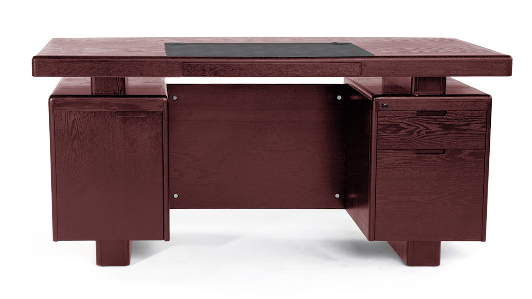 Desk Modern Monroe Mahogany Wood Modern Desk With Leather Pad And