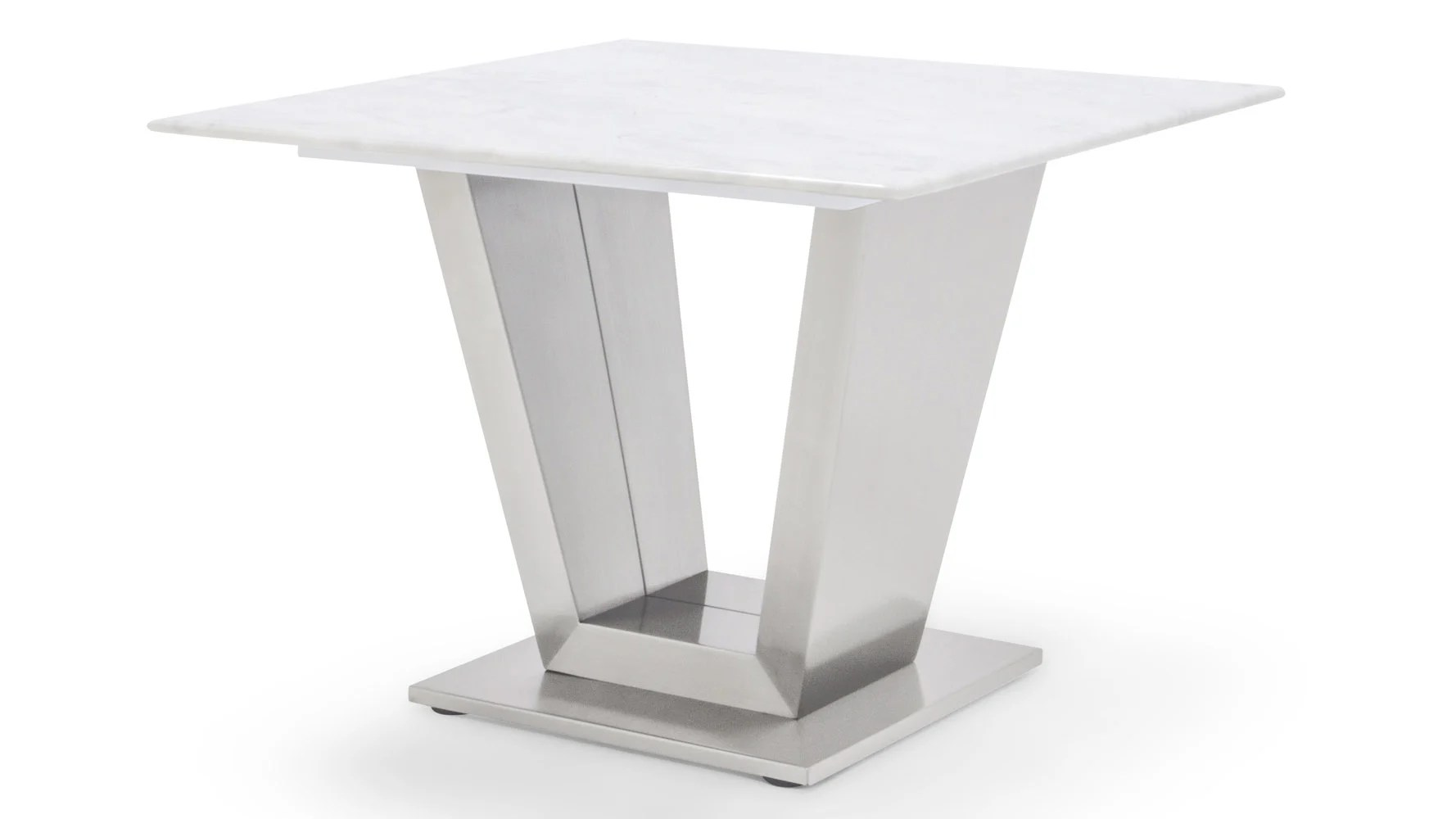 White Metal End Table Gray And White Mable Brushed Stainless Steel Port End