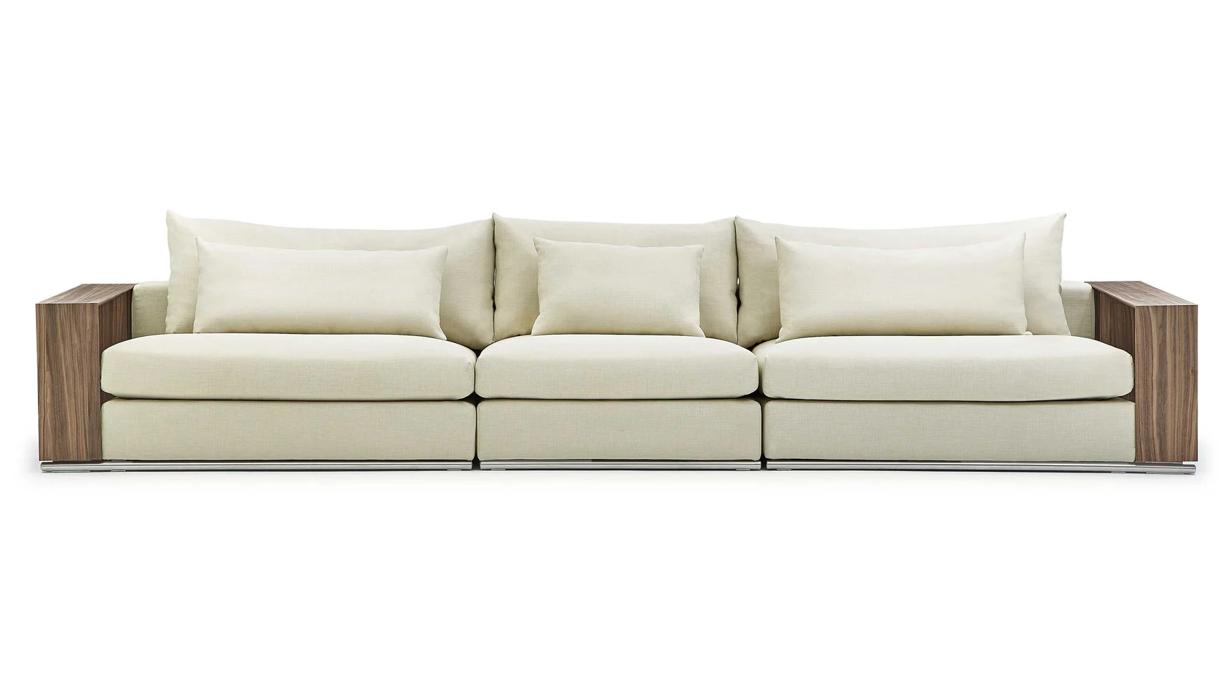 Sofa X Long Soriano Wooden Arm Long Sofa Beige
