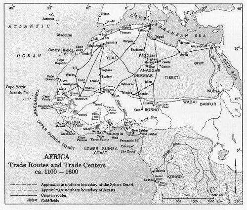 mappa dei traffici sahariani e costieri di schiavi
