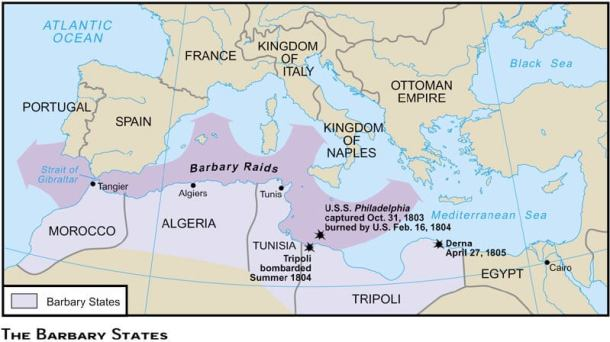 Stati barbareschi e direttrici dei raid all'inizio del XIX secolo (da: https://apamlitantebellum.wordpress.com/)