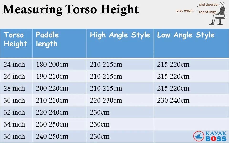 Measuring torso height for kayak selection