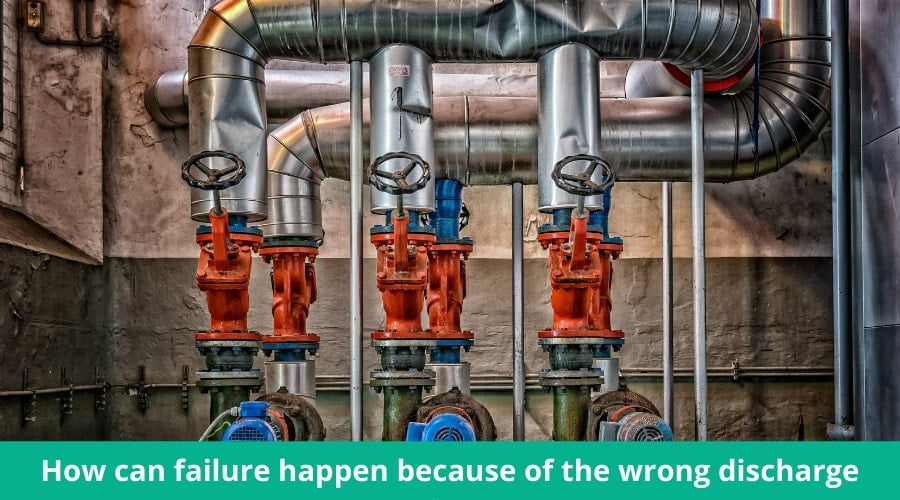 How can failure happen because of the wrong discharge pipe?
