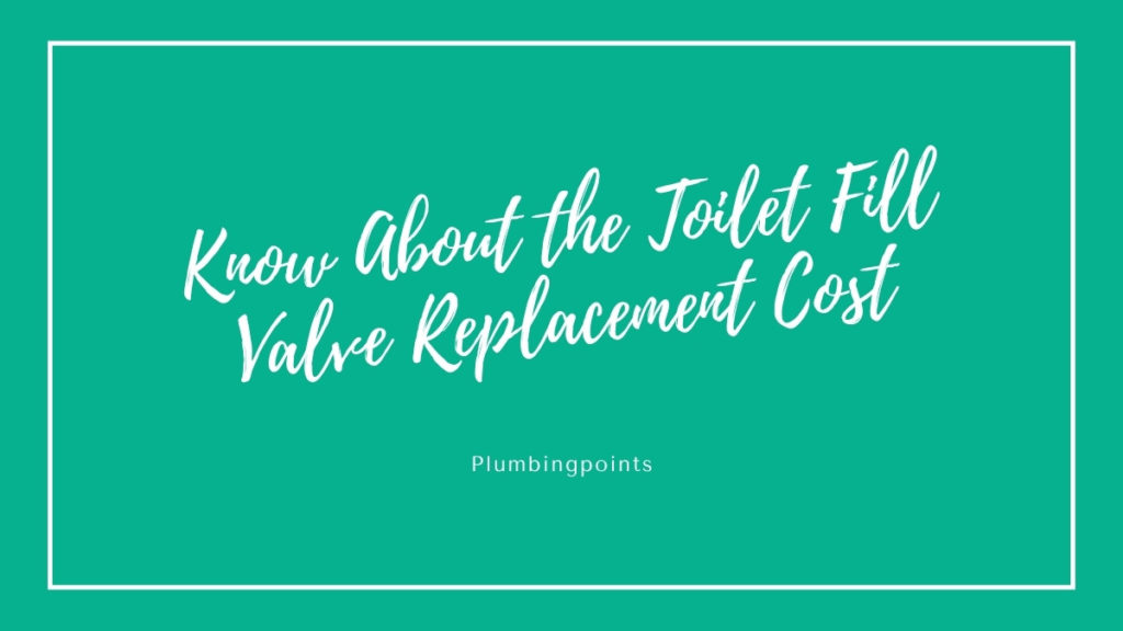 Toilet Fill Valve Replacement Cost