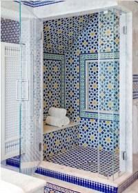 Blue Moroccan Mosaic Tile Bathroom in Cape Cod