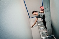paint it proper : how to paint a tall stairwell | Grey ...