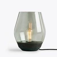 Smoked Oak & Opal Glass Table Lamp | Chameleon
