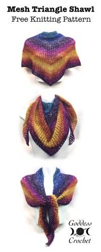 Mesh Triangle Shawl  Free Knitting Pattern  Goddess Crochet