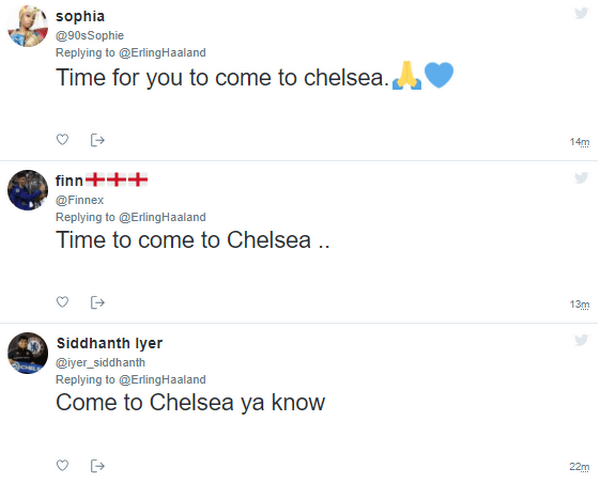 Chelsea fans have sent a transfer message to Erling Haaland. (Image: Twitter)