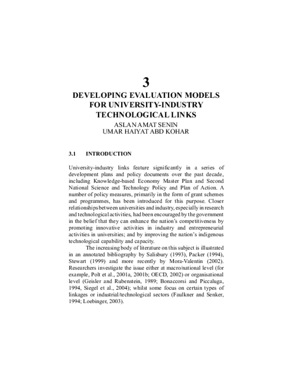 Mini Models Links : models, links, Developing, Evaluation, Models, University-Industry, Technological, Links, Haiyat, Abdul, Kohar, Academia.edu